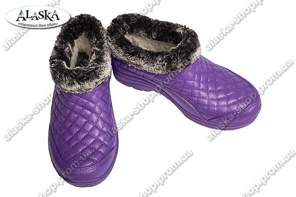 Женские меховые галоши фиолетовые (Код: Б-03 мех)