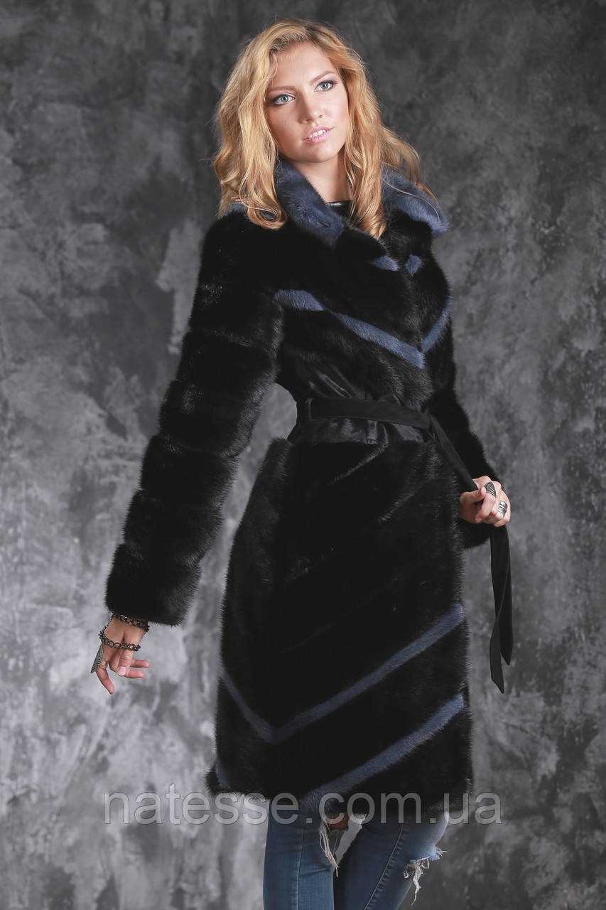 Шуба полушубок жилет из датской норки диагональ Real mink fur coats jackets