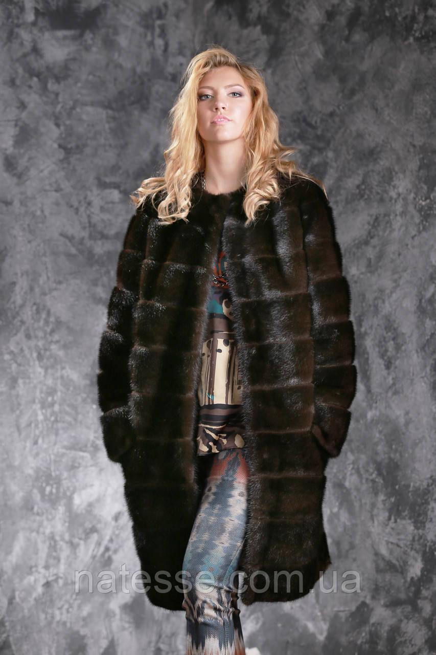 """Шуба с капюшоном из датской норки цвета """"Горький шоколад"""" real mink fur coats jacket"""