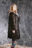 """Шуба с капюшоном из датской норки цвета """"Горький шоколад"""" real mink fur coats jacket, фото 2"""