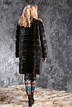 """Шуба с капюшоном из датской норки цвета """"Горький шоколад"""" real mink fur coats jacket, фото 3"""