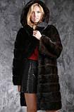 """Шуба с капюшоном из датской норки цвета """"Горький шоколад"""" real mink fur coats jacket, фото 4"""
