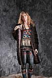 """Шуба с капюшоном из датской норки цвета """"Горький шоколад"""" real mink fur coats jacket, фото 5"""