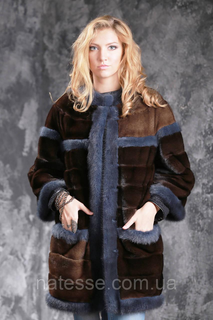 Шуба из американской норки GLAMA Real mink fur coats jackets