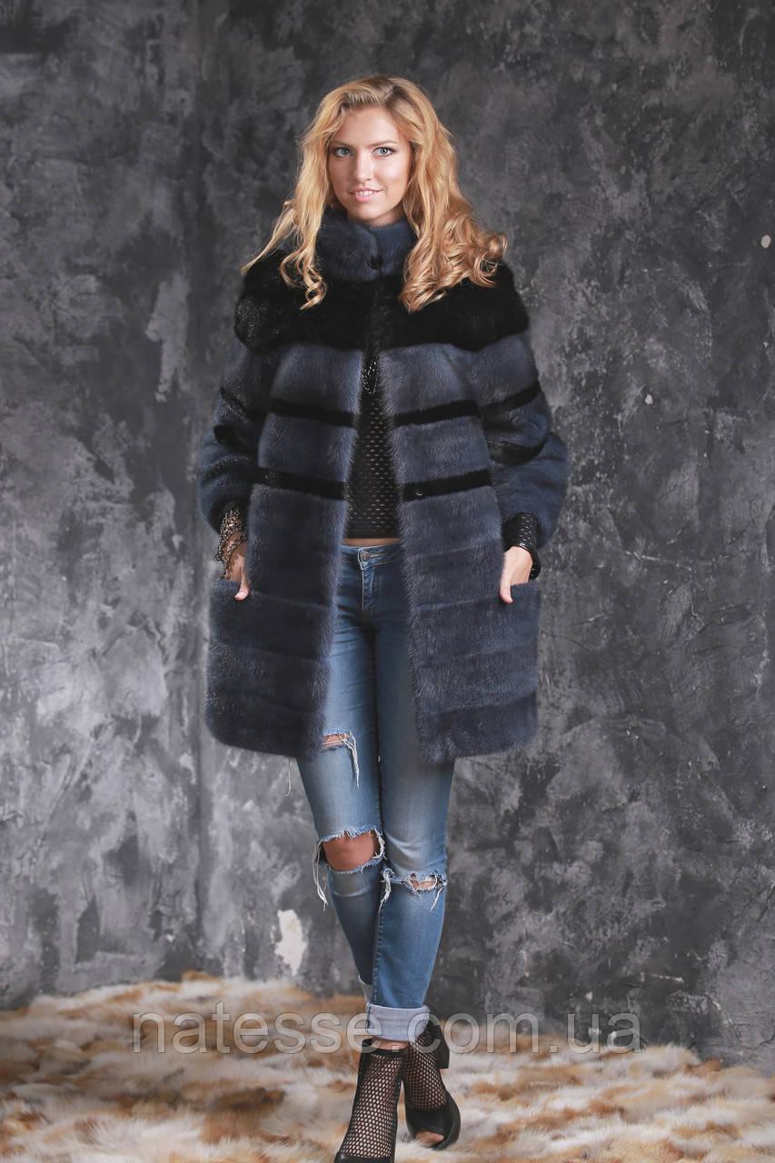Шуба полушубок из датской норки серая с черным Real mink fur coats jackets