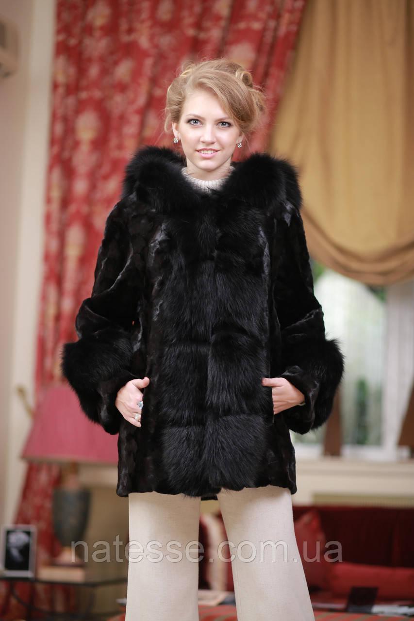 Шуба полушубок из лобиков норки с отделкой из черного песца sculptured mink fur coat with polar fox fur trim