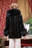 Шуба полушубок из лобиков норки с отделкой из черного песца sculptured mink fur coat with polar fox fur trim, фото 2
