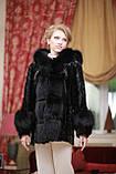 Шуба полушубок из лобиков норки с отделкой из черного песца sculptured mink fur coat with polar fox fur trim, фото 3
