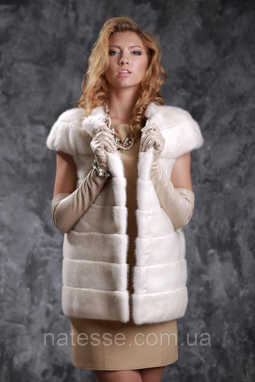 Жилет з норки NAFA (Канада) кольору перли real mink fur vest gilet