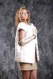 Жилет з норки NAFA (Канада) кольору перли real mink fur vest gilet, фото 4