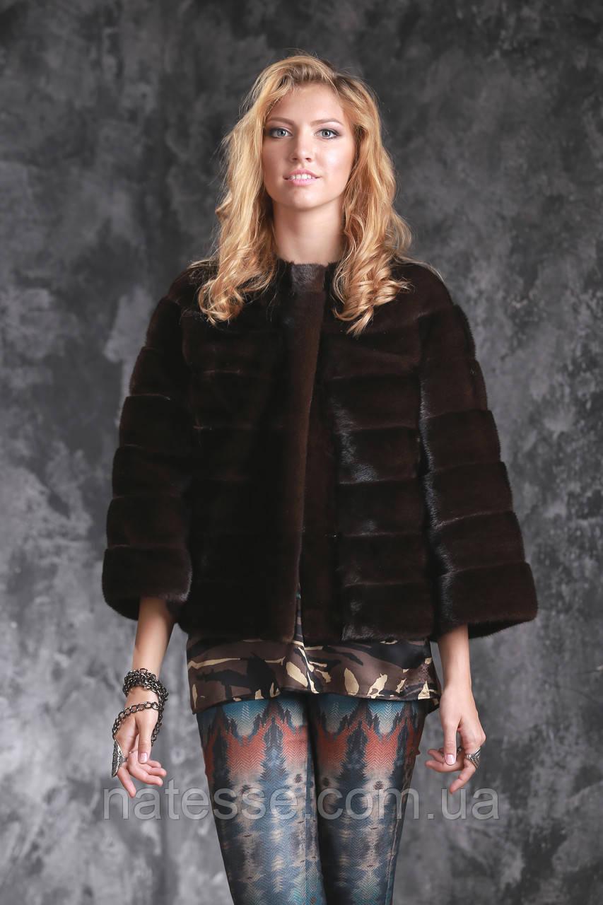 Полушубок автоледи из американской норки GLAMA Real mink fur coats jackets
