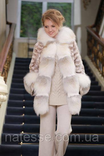 Шуба кожушок з лобіков норки з обробкою з полярної лисиці sculptured mink fur coat with polar fox fur trim