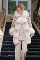 Шуба полушубок из лобиков норки с отделкой из полярной лисы sculptured mink fur coat with polar fox fur trim, фото 1
