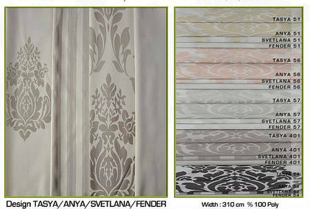 Ткань для штор Tasya, Anya, Svetlana, Fender