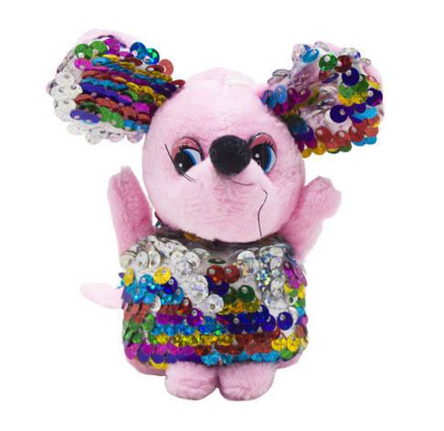 "Мягкая игрушка ""Мышка в пайетках"" (розовая) M-34, фото 2"