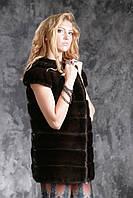 """Жилет из американской норки цвета """"Горький шоколад"""" real mink fur vest gilet, фото 1"""