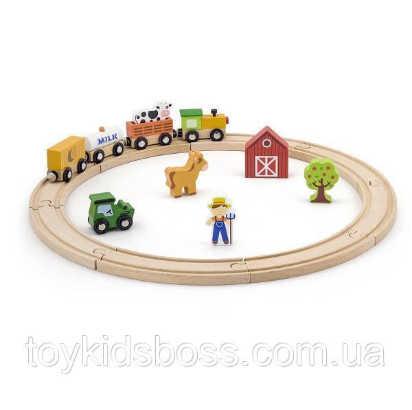 """Игровой набор Viga Toys """"Железная дорога"""", 19 деталей (51615)"""