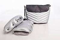 Комплект сумка и рукавицы на коляску DECOZA.MOMS эко кожа Серебристый DM-K-1, КОД: 126325