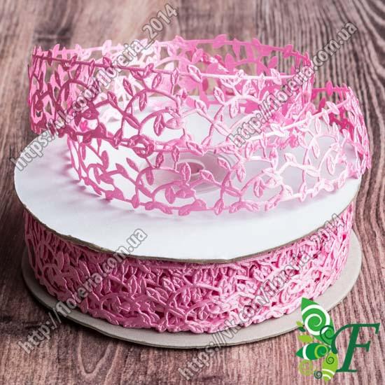 Тесьма атласная Плющ 3 см_розовый