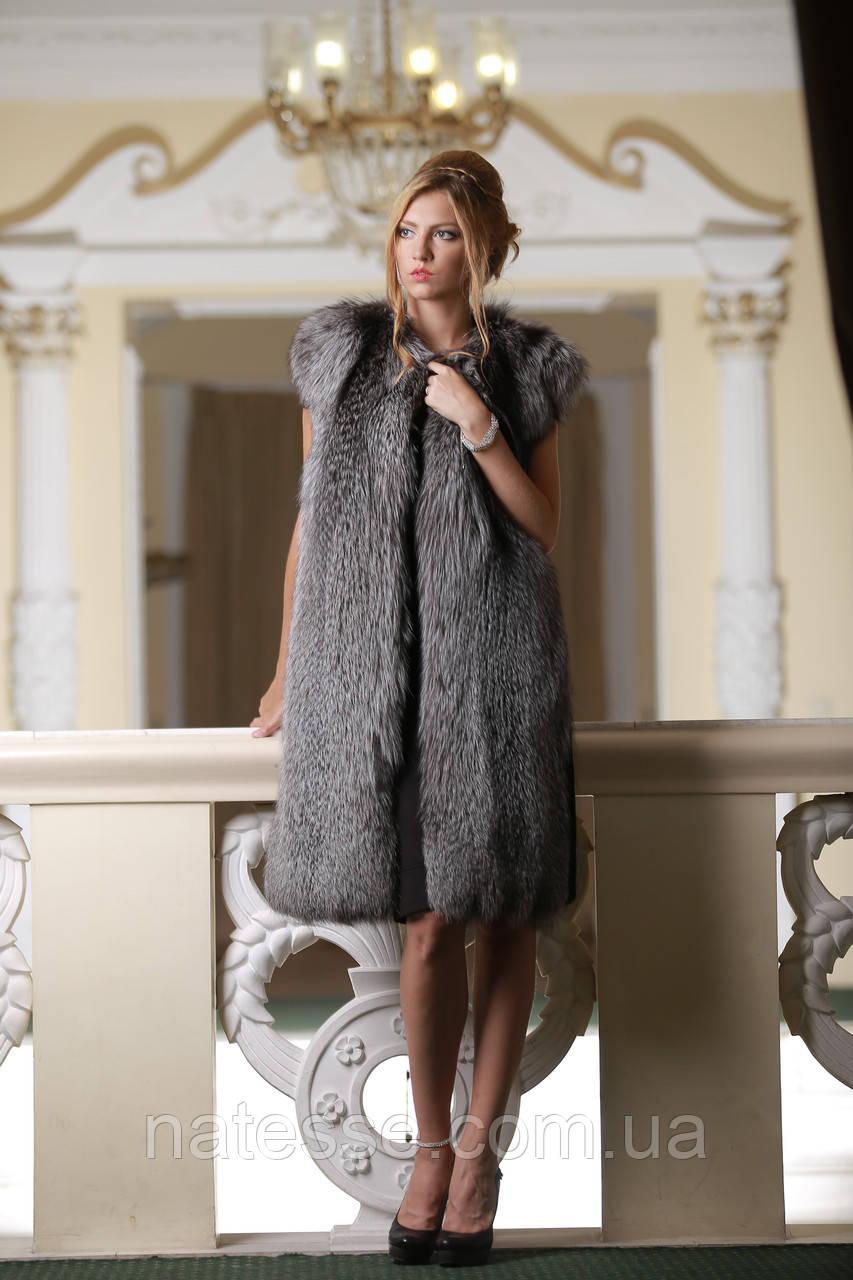 """Жилет из чернобурки """"Люсьена"""" SAGA Silver fox  fur vest gilet sleeveless"""