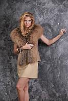 Жилет из норвежской чернобурки и натурального дубляжа silver fox fur vest gilet, фото 1