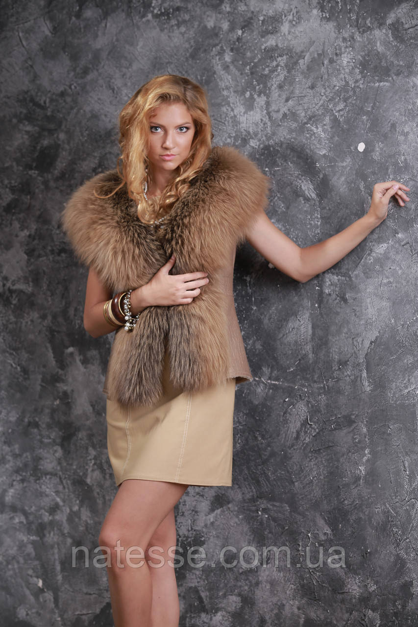 Жилет из норвежской чернобурки и натурального дубляжа silver fox fur vest gilet