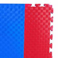 Мат татами (ласточкин хвост пазл) (1м x 1м x 2,5 см) красно-синий EVA25RB