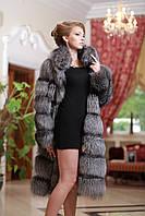 Шуба полушубок жилет из чернобурки silver fox fur coat vest gilet sleeveless over coat, фото 1
