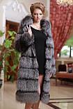 Шуба полушубок жилет из чернобурки silver fox fur coat vest gilet sleeveless over coat, фото 2