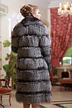 Шуба полушубок жилет из чернобурки silver fox fur coat vest gilet sleeveless over coat, фото 3