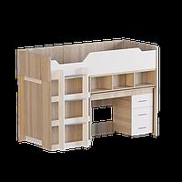 Кровать-чердак со столом и шкафом Эверест-2 Сонома + Белый Е-13, КОД: 182425