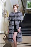 Шуба полушубок жилет из чернобурки silver fox fur coat vest gilet sleeveless over coat, фото 5