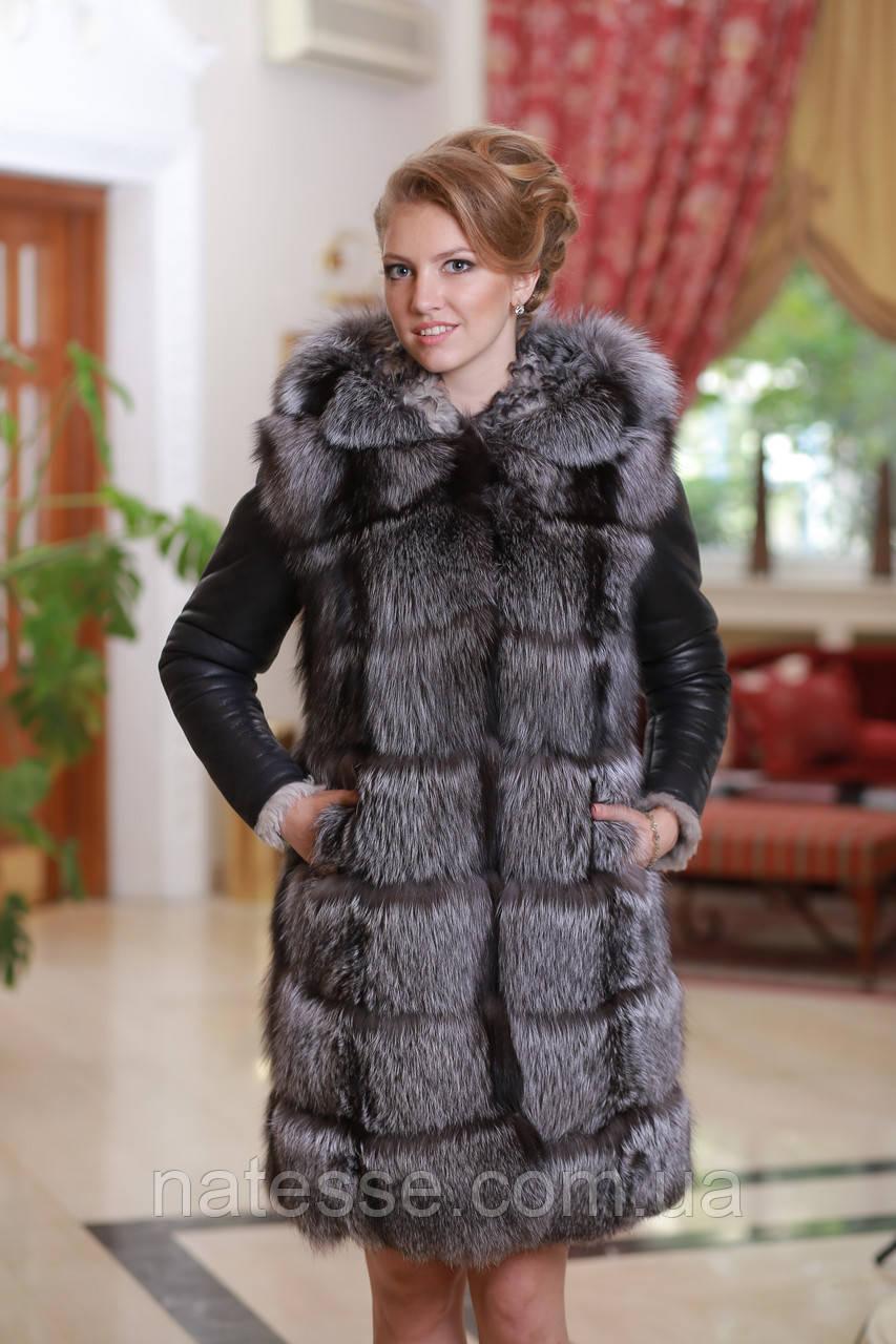 "Шуба жилет из чернобурки и дубленочного меха ""Тоскана"" Silver fox and double-side goat skin fur coat and vest"