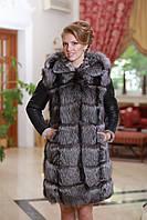 "Шуба жилет из чернобурки и дубленочного меха ""Тоскана"" Silver fox and double-side goat skin fur coat and vest, фото 1"