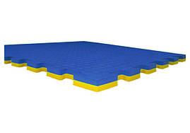 Мат татами (ласточкин хвост пазл) (1м x 1м x 3 см) желто-синий EVA30-YBL