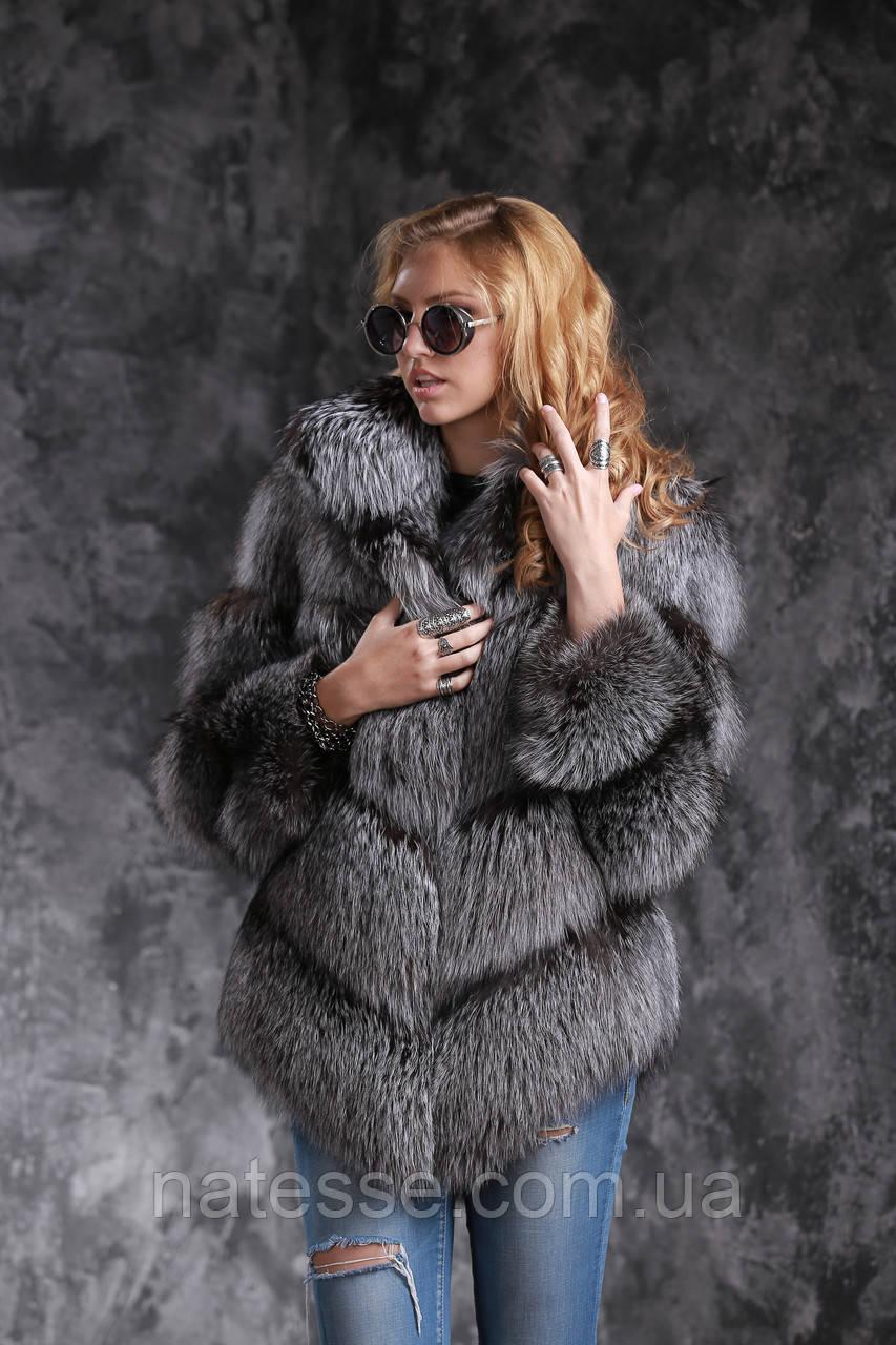 Шуба полушубок жилет из чернобурки SAGA silver fox fur coat jacket vest gilet
