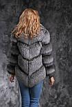 Шуба полушубок жилет из чернобурки SAGA silver fox fur coat jacket vest gilet, фото 2