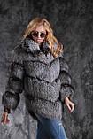 Шуба полушубок жилет из чернобурки SAGA silver fox fur coat jacket vest gilet, фото 3