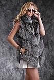 Шуба полушубок жилет из чернобурки SAGA silver fox fur coat jacket vest gilet, фото 5