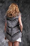Шуба полушубок жилет из чернобурки SAGA silver fox fur coat jacket vest gilet, фото 6