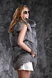 Шуба полушубок жилет из чернобурки SAGA silver fox fur coat jacket vest gilet, фото 7