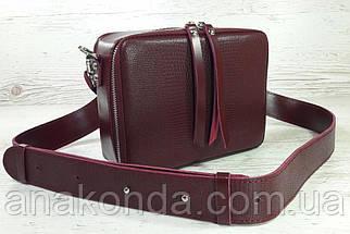 65-р Натуральная кожа, Сумка женская кросс-боди с широким ремнем бордовая, марсала Кожаная сумка женская, фото 2