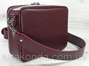 65-р Натуральная кожа, Сумка женская кросс-боди с широким ремнем бордовая, марсала Кожаная сумка женская, фото 3