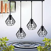 """Подвесной металлический светильник, современный стиль, loft, vintage, modern style """"SKRAB-4"""" Е27  черный цвет"""