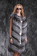 Жилет из чернобурки SAGA  диагональ Silver fox fur vest gilet sleeveless, фото 1