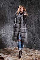 Жилет из чернобурки SAGA с отстегивающимся подолом Silver fox fur vest gilet sleeveless, фото 1