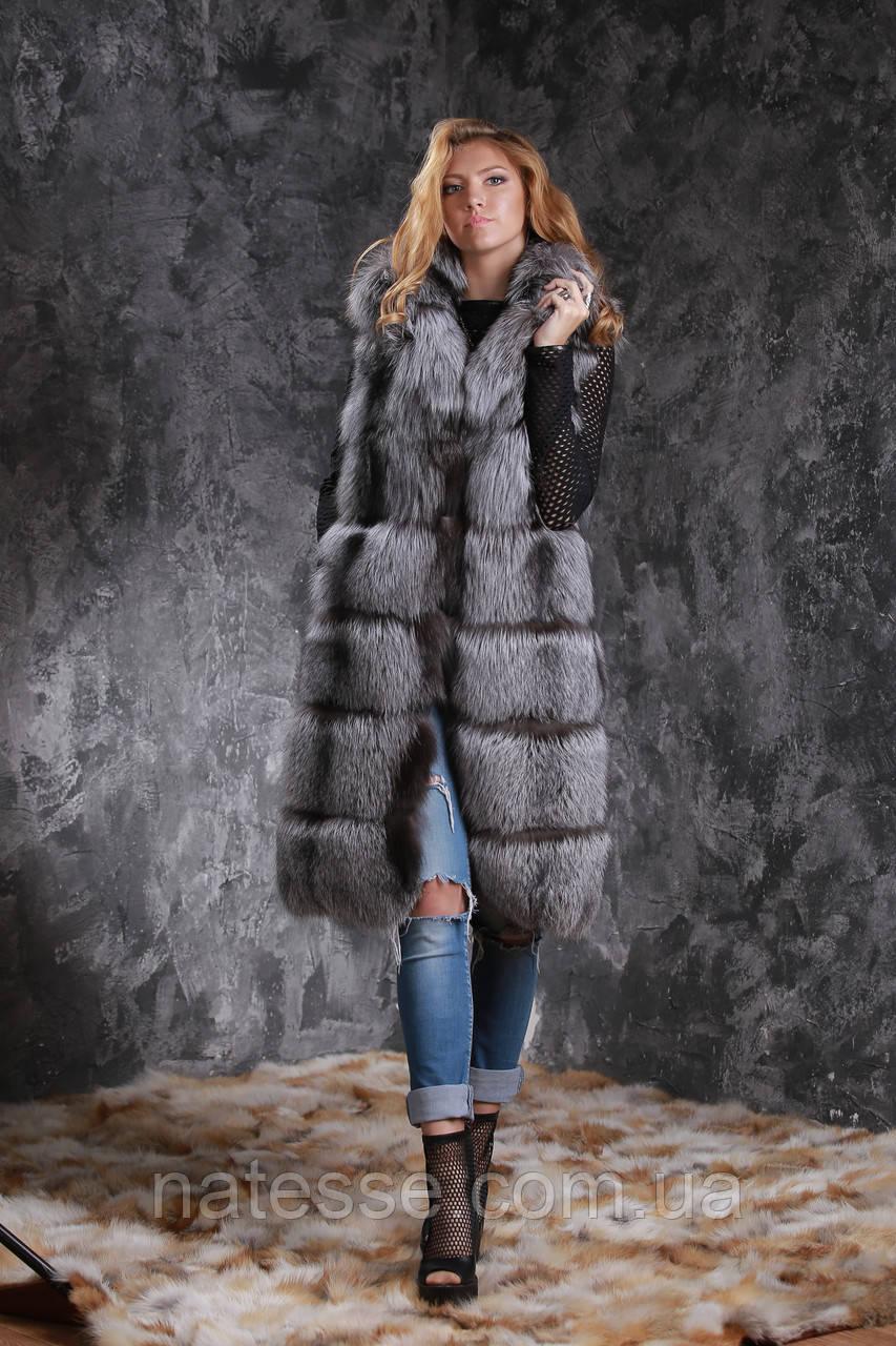 Жилет из чернобурки SAGA с отстегивающимся подолом Silver fox fur vest gilet sleeveless