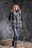 Жилет из чернобурки SAGA с отстегивающимся подолом Silver fox fur vest gilet sleeveless, фото 5