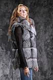 Жилет из чернобурки SAGA с отстегивающимся подолом Silver fox fur vest gilet sleeveless, фото 6