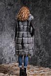 Жилет из чернобурки SAGA с отстегивающимся подолом Silver fox fur vest gilet sleeveless, фото 4